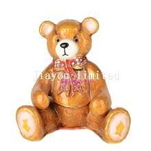 Quality TBP0530-bear faberge collection animal jewelry box crystal trinket box for sale