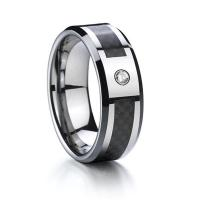 China Wholesale Brush Finish CZ Ring Tungsten Carbide Wedding Ring for Men and Women on sale