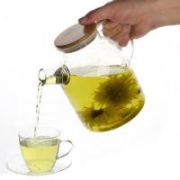 Buy cheap Iced Tea Glass Flower Teapot with bamboo lid from wholesalers