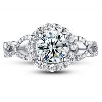 China Engagement Rings HH3820 18k gold ring, setting with diamonds(H/SI), moissanite center on sale