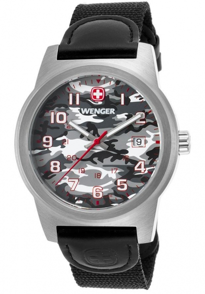 Quality Men's Watches Men's Field Color Black Nylon and Genuine Leather Camo Dial for sale