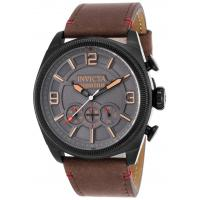 Men's Watches Men's Aviator Chronograph Brown Genuine Leather Grey Dial Black IP SS Manufactures