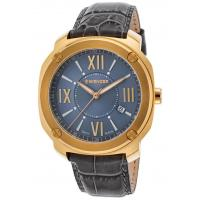 Men's Watches Men's Edge Romans Grey Genuine Leather & Dial Gold-Tone SS Manufactures