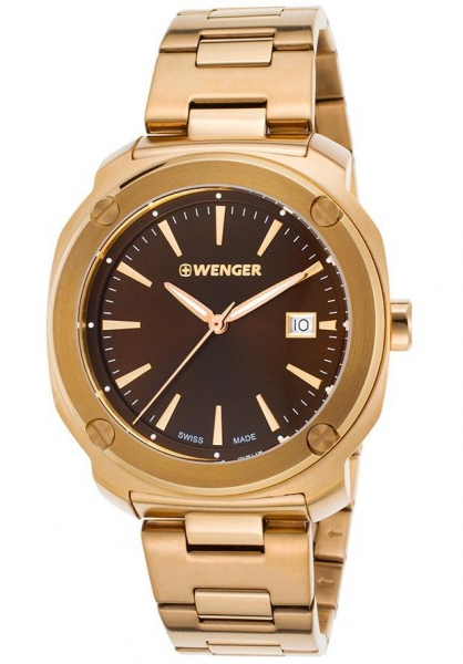 Quality Men's Watches Men's Edge Index Gold-Tone Stainless Steel Brown Dial for sale