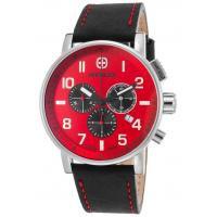 Men's Watches Men's Commando Chronograph Black Genuine Leather Red Dial Manufactures