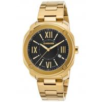 Men's Watches Men's Edge Romans Gold-Tone Stainless Steel Black Dial Manufactures