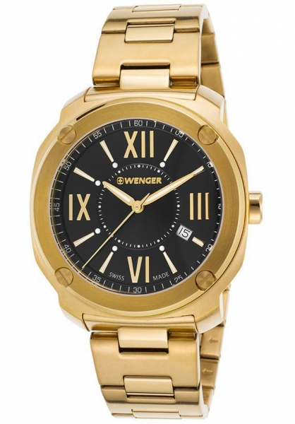 Quality Men's Watches Men's Edge Romans Gold-Tone Stainless Steel Black Dial for sale