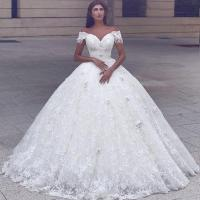 Glamorous ball gown wedding dresses lace short sleeves puffy bridal