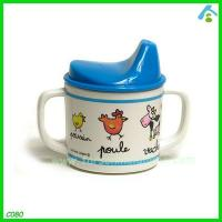 China Printed Plastic Cup For Kids , Melamine Cups With Handles And Straw on sale