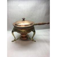 China Vintage Chaffing Copper Brass Fondue Pot Chafing Dish lid double boiler . on sale