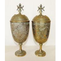 Pair VINTAGE Brass ENGRAVED URN Chalice POTS GOBLETS Indian VISHNU Hindu DEITIES Manufactures