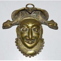 ANTIQUE BAMILEKE CAMEROON BRASS HIP FACE MASK SNAKES EATING FROG TRIBAL AFRICAN Manufactures