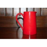 STUNNING POTTERY RED TAPERED JUG Manufactures