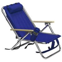 China Favor Outdoor Aluminum Beach Backpack Chair With Wood Armrest on sale