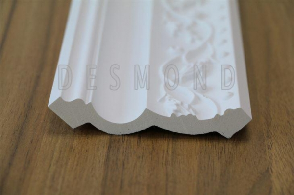 Quality White color similar to gypsum material PU Carving Cornice Moulding for sale