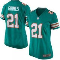 Buy cheap Nike Brent Grimes Miami Dolphins Women's Aqua Alternate Game Jersey from wholesalers