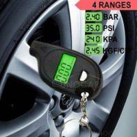 Buy cheap keychain LCD tire pressure gauge with led light Portable Mini tyre guage from wholesalers