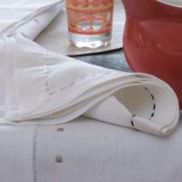 Swiss Dots Embroidery Linen Napkin Hemstitch NL-012 Manufactures
