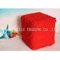 Red Bubble Velet Yarn Hand Made Crochet Stool Cover Pouf Ottoman Manufactures