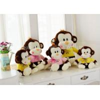 Brown Monkey Animal Plush Toys Sitting With Lace Bows / Yellow Warm Blouse Manufactures