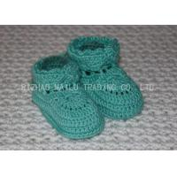 China Sky Blue Crochet Toddler Booties Winter Knitted Baby Boots With Shoelaces on sale