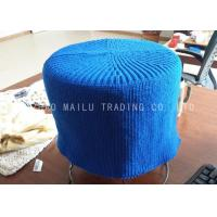 Sea Blue Crochet Stool Cover Cylindrical Shape Knitted Footstool For Home Furniture Manufactures