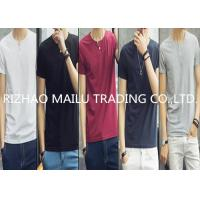 Men 100% cotton embroidery design O neck t shirt with decorative buttons Manufactures