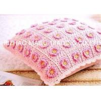 Romantic Small Hand Crochet Seat Cushion Pink Flowers With Yellow Petals Manufactures