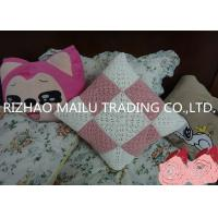China Pink / White Square Milk Cotton Crochet Cushion Cover Hollow Out Knit Pillow Covers on sale