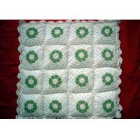 China Hollow Out Square Crochet Cushion Cover Milk Cotton , Green Crochet Flower Cushion on sale