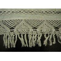 Rib Linen Crochet Accessories / Crochet Lace Curtains With Tassels Trimming Manufactures