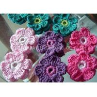 Colorful Crochet Accessories , 6 Petals Knitted Crochet Flower Appliques Manufactures