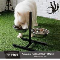 China Double Elevated Raised Pet Bowl Dish Stand Feeder Food Water Stainless Steel Dog Bowl on sale