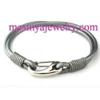 3mm Genuine Metallic Round Leather with Stainless Steel Shrimp Clasp Bracelet (21cm / 8 1/4