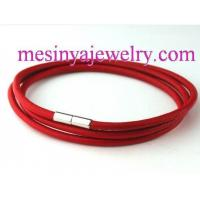 Fashion Jewelry 3mm Genuine Round Leather with Stainless Steel Magnetic Clasp Bracelet (19cm) Manufactures