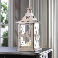 China Distressed Butterfly White shabby Candle Lantern wedding on sale