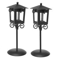 China Traditional Charming Black Metal Lamp Post Style Tea Light Candle Lanterns on sale