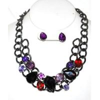 Jewelry #Fall Fashionable necklace set in jewel tones of red, light and dark purple Manufactures