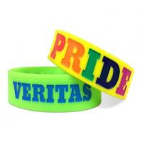 Custom Fasionalable Debossed Silicone Wristbands with Color Filled Manufactures