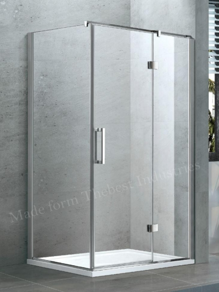 Quality Swing Hinged Semi Frameless Shower Door Glass in Frosted Hammer Glass for sale