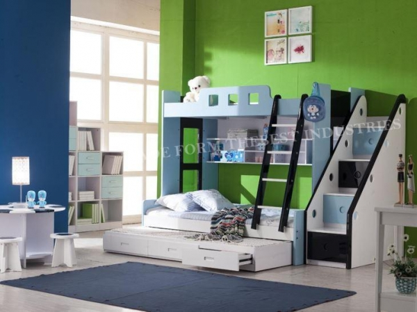 Quality Twin Over with Extra Trundle Bunk Bed Drawers Option For Boy Kids and Girl for sale
