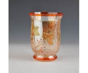 China decoration glass hurricane with crackle finished