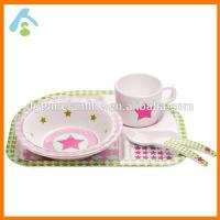 China Four Sets Melamine Dinner Tray For Kids, Plate&Cup&Spoon&Fork on sale