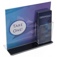13 x 11 Acrylic Sign Holder with Pocket for 4 x 9 Brochures, T-style - Black Base Manufactures