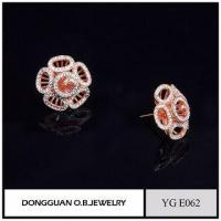 Wholesale 925 Silver Earring Rose Gold Plated Artificial Flower Jewelry Earrings For Ladies Manufactures
