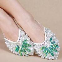 Newest Green Diamond Belly Dance Toe Pad Shoes,Women Belly Dance Practice Shoes Manufactures