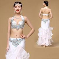 Glorious White Oriental Belly Dance Performance Costume,Belly Dance Bra Costume Manufactures