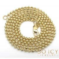 Buy cheap 10K Yellow or White Gold Moon Cut Bead Link Chain 22-30 Inch 2mm from wholesalers