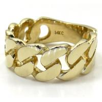 Buy cheap 14k Yellow Gold 9mm Solid Cuban Link Ring from wholesalers