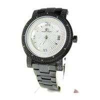 Buy cheap Mens Black Stainless Steel Super Techno Diamond Watch 0.12ct from wholesalers